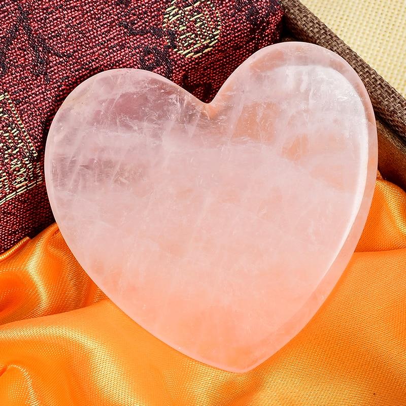 Heart Shape Natural Rose Quartz Gua Sha Scratch Jade Facial Acupuntura Massager Back Foot Head Scraper Face Lift Health Care