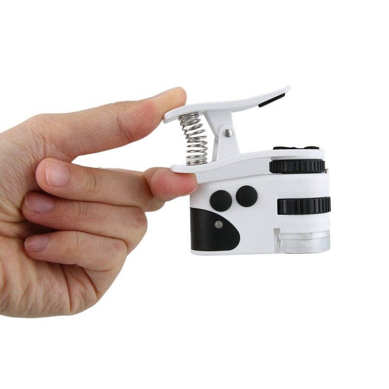 60X Mini Mobile Phone Microscope Led Clip Lights Magnifying 60 Times Magnifying Glass High Definition Exam Money Quality 5.23