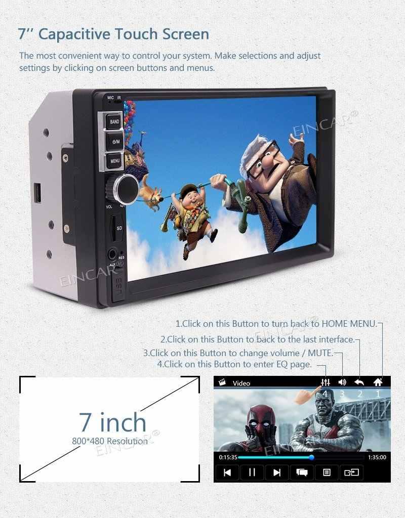 EinCar 7 ''Двойной Дин Bluetooth стерео автомагнитолы MP5 Радио Видео плеер FM/BT/USB/TF AUX Дистанционное Управление для автомобиля + задняя Камера