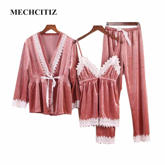MECHCITIZ 2018 Autumn Winter Velvet Women s Pajamas Set Sexy Lingerie Pants  Robe 3 Piece Pajama Sleepwear Nightdress Home Suit a92be83513d