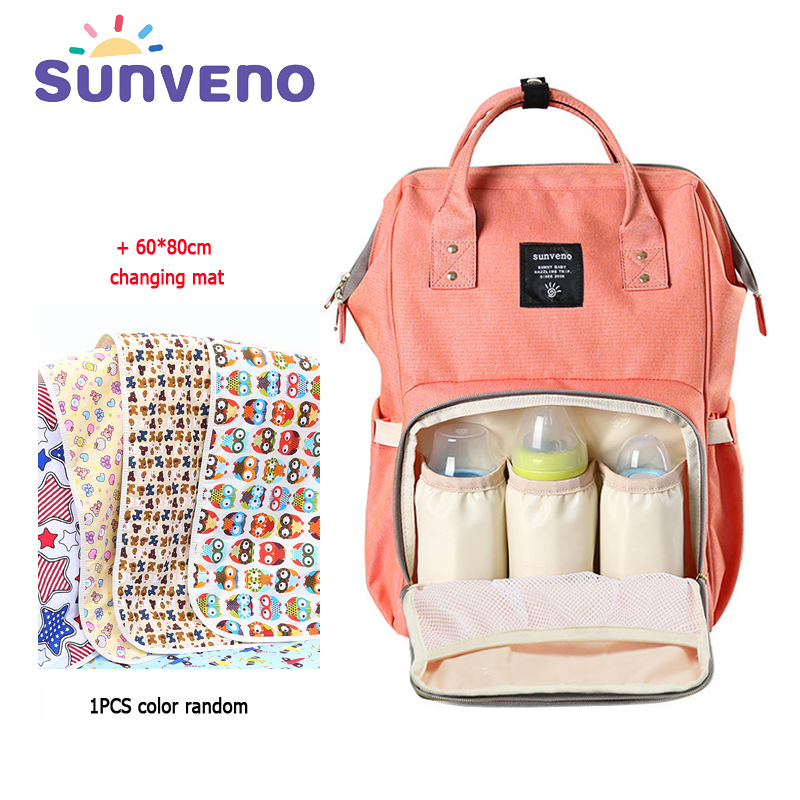 SUNVENO Free Shipping Mummy Maternity Diaper Bag Fashion Mom Backpack 2017 Brand Large Capacity Baby Bag Mother Stroller Bag купить