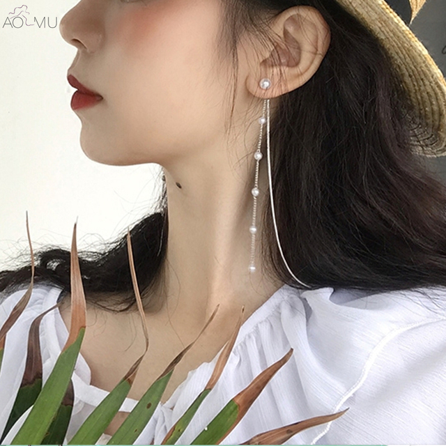 AOMU Korea New Design Elegant Double Side Long Taseel Pearl Dangle Earrings For Women Girl Drop.jpg 640x640 - AOMU Korea New Design Elegant Double Side Long Taseel Pearl Dangle Earrings For Women Girl Drop Earrings Gift brinco
