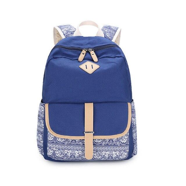 Модный бренд Цветок Печатных Bagpack Женщины Холст Рюкзак Мешок Школы для Подростков Девушки Винтаж Back Pack Женский Hasp Рюкзак