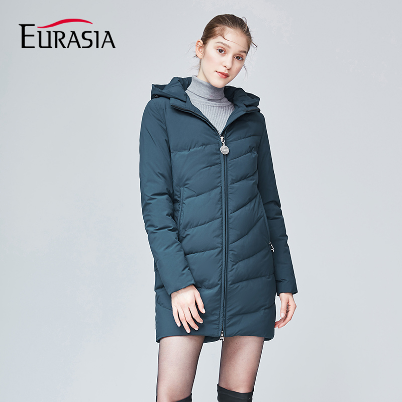 EURASIA 2018 New Fashion Women Winter Coat Hood Thick Parkas Padded Full Solid Outwear Warm Jackets Lady Clothing YD1869 women s new winter quilted jacket chunky puffer coat full zip spliced sweater hood padded outwear with knit sleeve