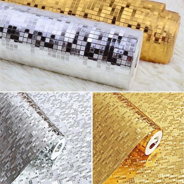 US $22 69 24% OFF 10M*53CM 3D Waterproof Glitter Mirror Effect Mini Mosaic  Sparkle Light Reflection Gold Foil Silver Foil Wallpaper KTV Bar -in Wall