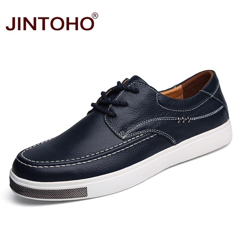 JINTOHO Big Size Casual Men Shoes High Quality Men Genuine Leather Shoes Lace Up Male Shoes