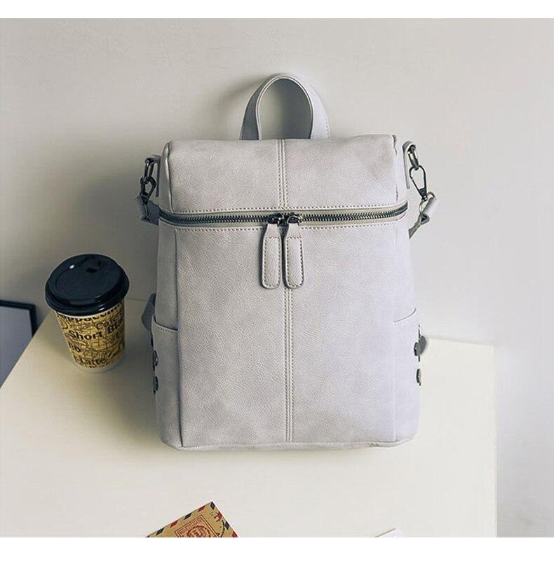 HTB1DjO3a0jvK1RjSspiq6AEqXXa2 Simple Style Backpack Women Leather Backpacks For Teenage Girls School Bags Fashion Vintage Solid Black Shoulder Bag Youth XA568