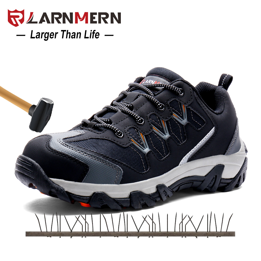 LARNMERN Men's Steel Toe Cap Work Safety Shoes Outdoor Sneaker Boots Casual Breathable Puncture Protection Footwear Reflective free shipping men steel toe cap work safety shoes reflective casual breathable hiking boots puncture proof protection footwear