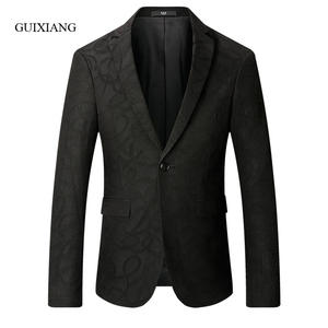 Jacket Blazers Single-Button Slim Floral-Color Winter-Style Men's Casual Fashion New-Arrival