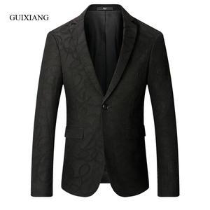 Jacket Blazers Single-Button Slim Floral-Color Winter-Style Men's Casual Fashion Autumn