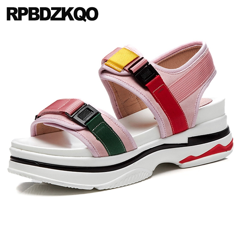 9e5b66cec75 Pink Sandals Wedge High Heels Famous Brand Flatform Summer Designer Shoes  Women Luxury 2017 Female Strap