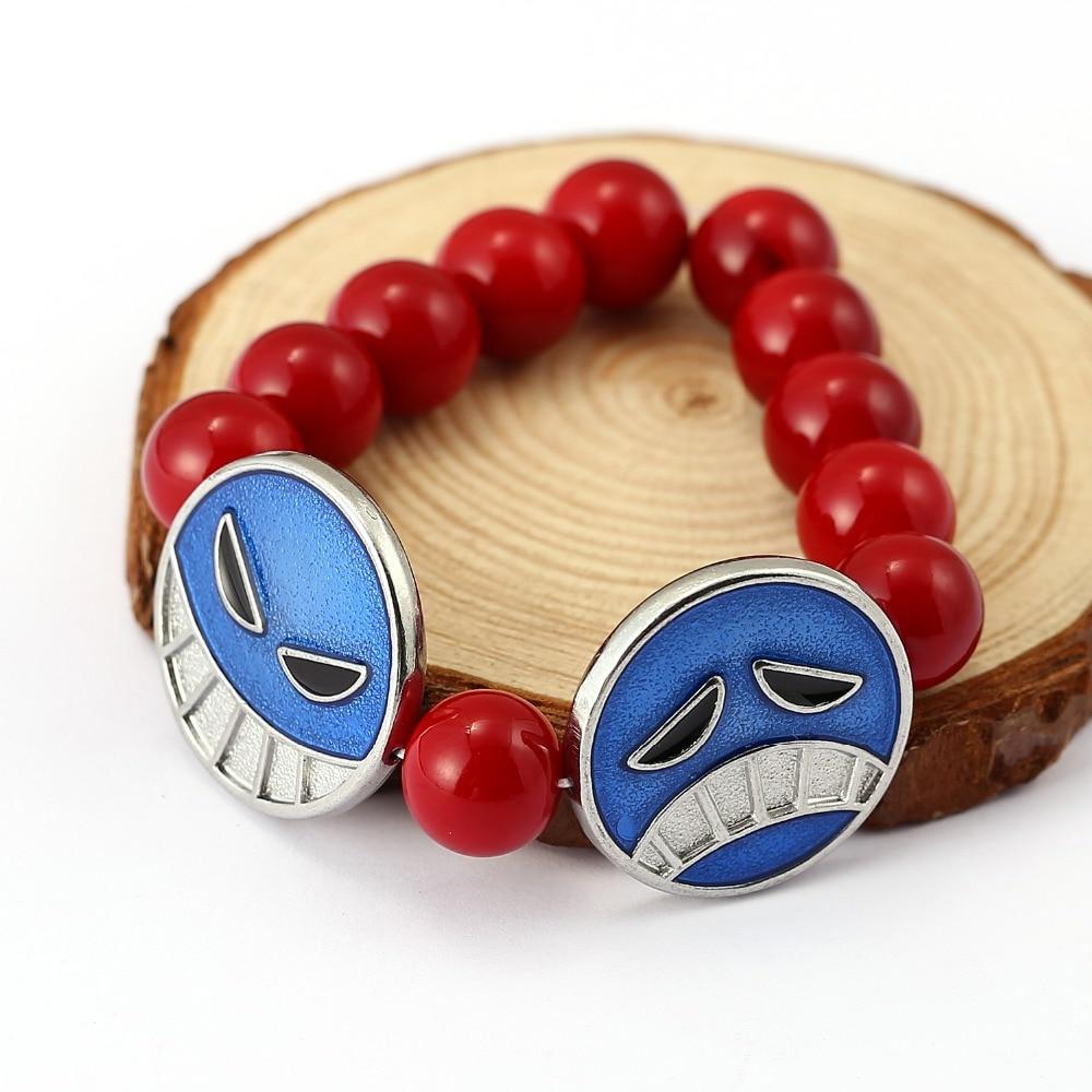 ¡Producto en oferta! pulseras de abalorios Portgas D Ace de una sola pieza de anime, accesorios de joyería de calidad