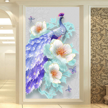 Youran New Arrival Full Sqaure Round Drill diy Diamond Embroidery Painting Flower Peacock Decor Vertical Beads Mosaic Craft Kit