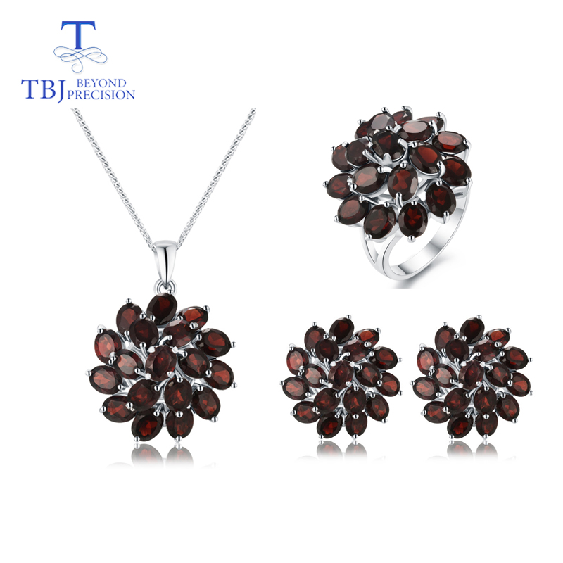 TBJ,natural Mozambique Garnet Gemstone Jewelry Set 925 Sterling Silver Nice Flower Design Pendant Earring And Ring For Women