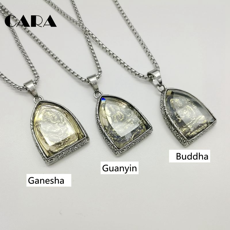 2018 NEW Statement Necklace Vintage Buddha Pendant Buddhist Necklace Buddha Religious stainless steel Necklace Jewelry CAGF0313 vintage ivory decorated carving stainless steel pendant necklace