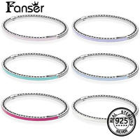 Fanser Капля клея браслет 100% 925 серебро с несколькими Цвета для европейского Для женщин браслет Стиль ювелирные изделия