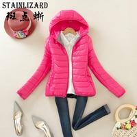 STAINLIZARD Slim Women Winter Autumn Coat Casual Cotton Hooded Parkas Short Ladies Clothing Warm Jacket Women