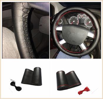 Car shape microfiber leather hand sewing steering wheel cover 38cm for BMW X1 X3 X4 X5 X6 F07 F09 E91 E53 E70 X5 X3 X6 M M3 M5 image