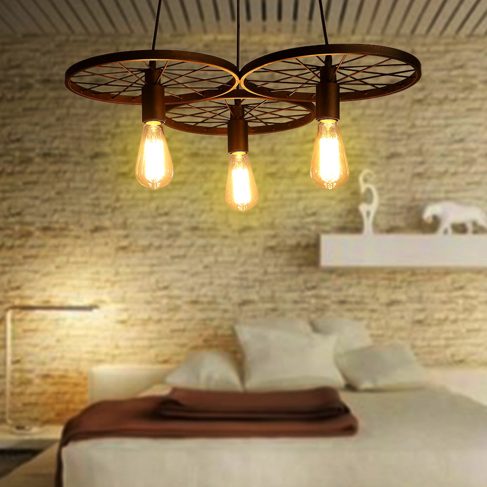 Loft Metal Wheel Pendant Light Vintage Creative Personality Industrial Lighting Restaurant Bar Aisle Wrought Iron Pendant Lamp loft pendant light bar restaurant aisle stairs personality wrought iron hanging lamp suspension luminaire vintage lamps lighting