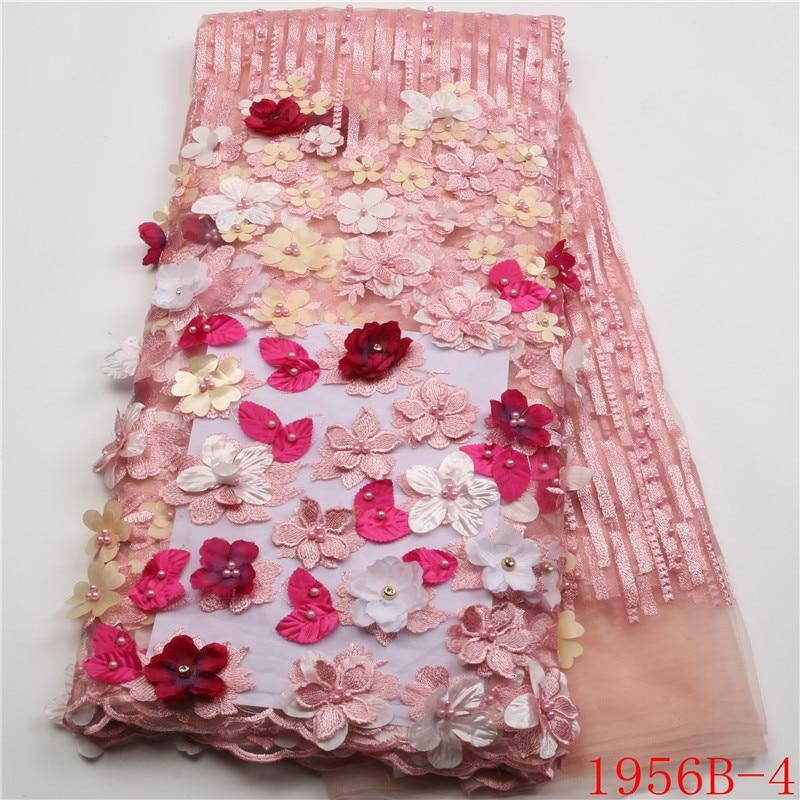Tela de encaje africano Rosa 2018 flores 3D tela de encaje de tul con cuentas de Alta Calidad hermosa tela de encaje de tul francés XZ1956B 2-in encaje from Hogar y Mascotas    2