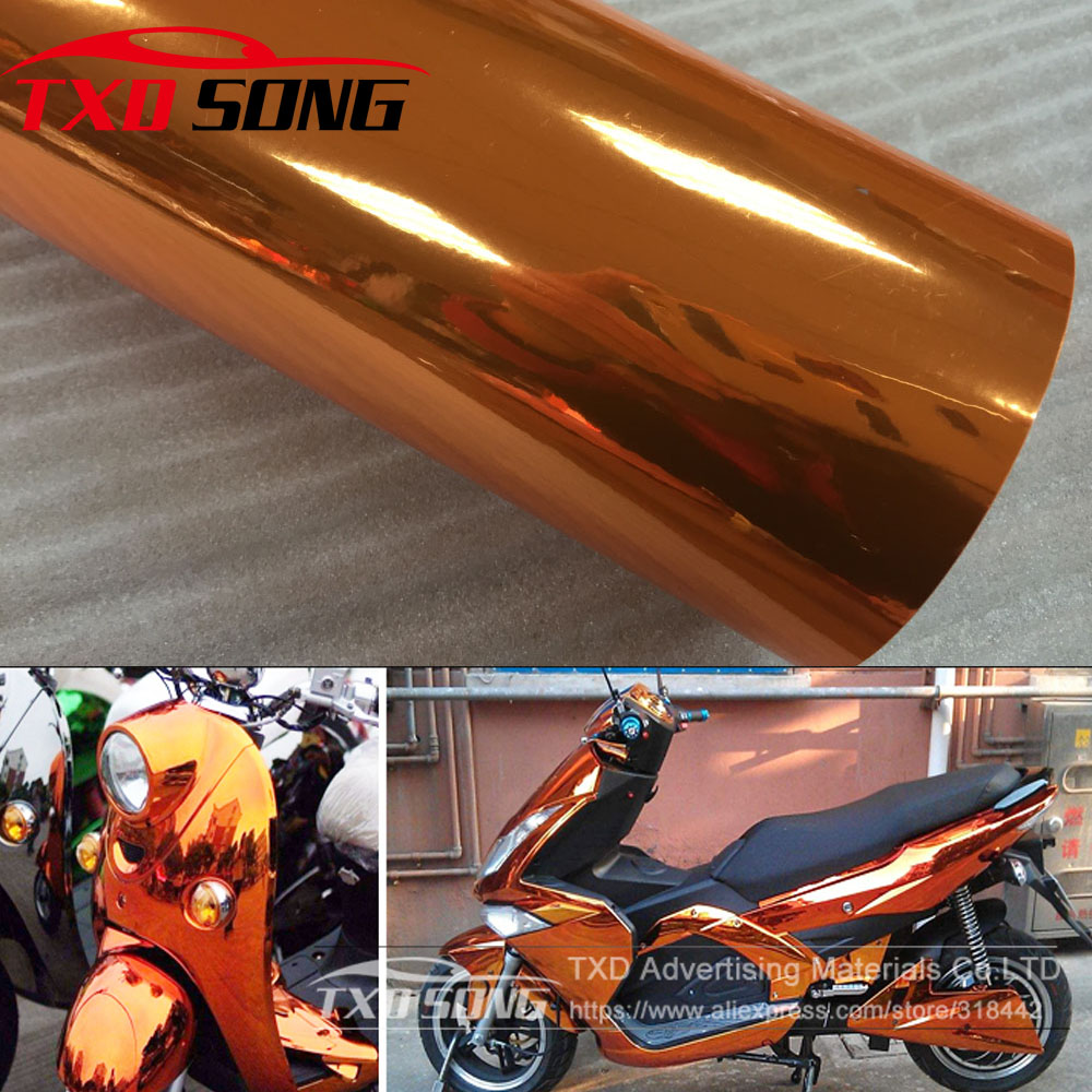 Premium quality High stretchable orange mirror film Chrome Mirror flexible Vinyl Wrap Sheet Roll Film Car Sticker Decal Sheet-in Car Stickers from Automobiles & Motorcycles