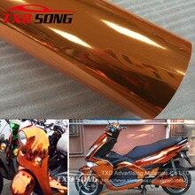 Qualidade premium alta stretchable laranja espelho filme cromo espelho flexível vinil envoltório folha rolo filme adesivo do carro decalque folha