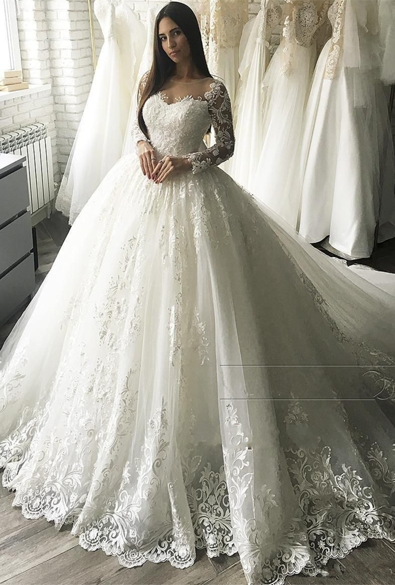 wedding dress boho Newest Lace Wedding Dresses Ball Gown 2019 Long Sleeve Button Appliqued Bridal Gown