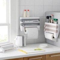 Refrigerator Cling Film Storage Rack Shelf Plastic Wrap Cutting Device Wall Hanging Paper Towel Holder Kitchen Bathroom tool23