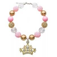 Cuentas hechas a mano de La Corona Colgante de Acrílico Collar de Perlas de Color Rosa de Cristal Gargantillas Collares Para Las Mujeres Muchachas de Los Cabritos DIY Joyería X55