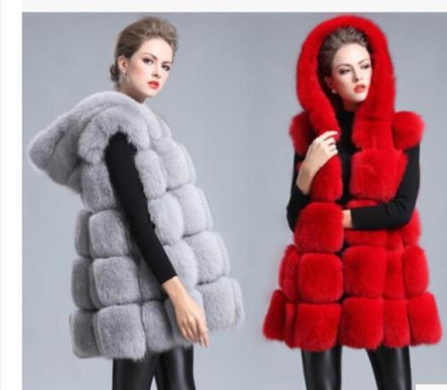 Womens Fox Fur Hooded Pattern Sleeveless Vest Outwear Warm European Coat Thicken Winter Long Hooded Parkas 3Colors