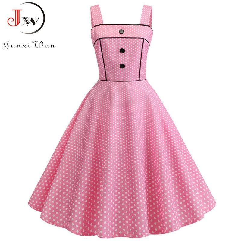 Women Summer Dress 2019 Sexy Spaghetti Strap Party Dress Polka Dot Elegant Vintage Big Swing Rockabilly Dress Vestidos 14 Colors