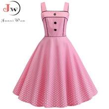 Women Summer Dress 2020 Sexy Spaghetti Strap Party Dress Polka Dot Elegant Vintage Big Swing Rockabilly Dress Vestidos 14 Colors