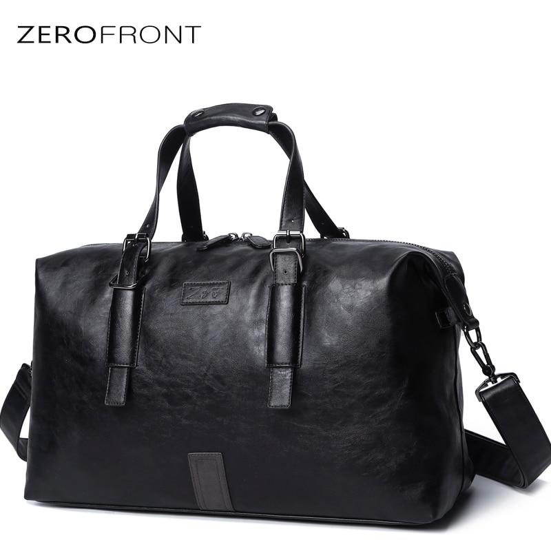 2018 Popular Design male's bag PU Leather Weekend Duffel Bag Portable Highcapacity Men's Leisure  Travel Bag Black Handbag