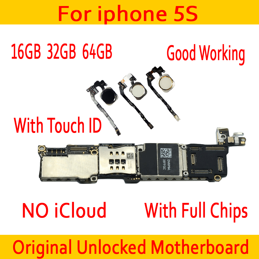 100% Good Working for iphone 5S Motherboard With/Without Touch ID,Original unlocked for iphone 5S Mainboard,16gb / 32gb / 64gb100% Good Working for iphone 5S Motherboard With/Without Touch ID,Original unlocked for iphone 5S Mainboard,16gb / 32gb / 64gb