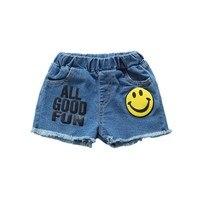 2017 Baby Girls Boys Shorts Smiling Face Printed Jeans Pocket Demin Summer Pants 1-6Y