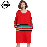 Oladivi 2017 Winter Women Warm Velvet Dress Casual Loose Striped Dresses Ladies Plus Size Clothes Vestidos