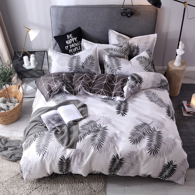 Black Feather Duvet Cover Set 3/ 4pcs Bedding Set AB Side Bedclothes Heart Home Bed Linens King Queen Flat Sheet Pillowcase New
