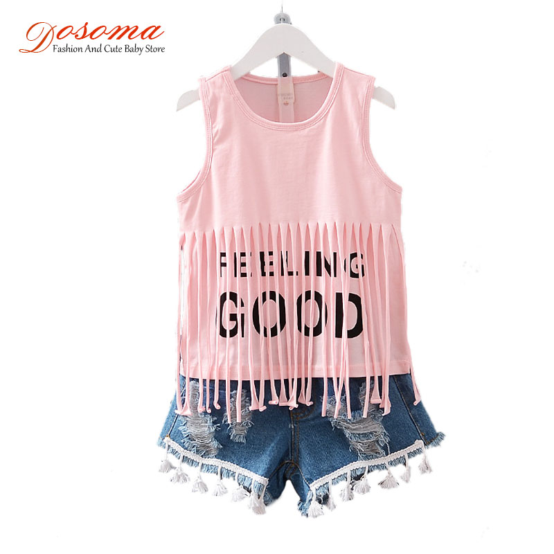 Children clothing 2016 summer style baby girls clothing sets fringed vest letter t-shirt + denim short suit fashion kids clothes