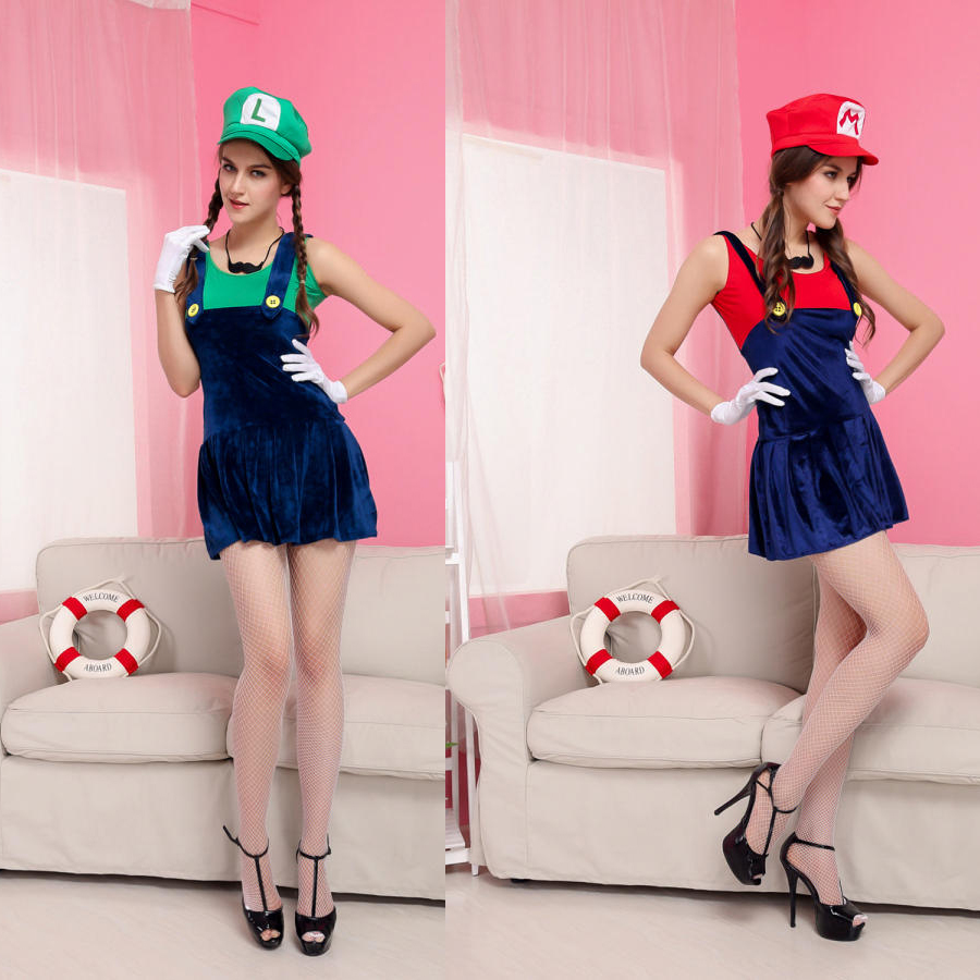 Red Green Super Mario Plumbers Couples Costume Dress Masquerade Halloween Cloth Cosplay for Women Girl on Aliexpress.com | Alibaba Group  sc 1 st  AliExpress.com & Red Green Super Mario Plumbers Couples Costume Dress Masquerade ...