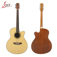 SAYSN 41 Log Color Acoustic Folk Guitar 6 String Spruce Guitarra for Beginners Music Lovers Students with Capo Strap Backpack