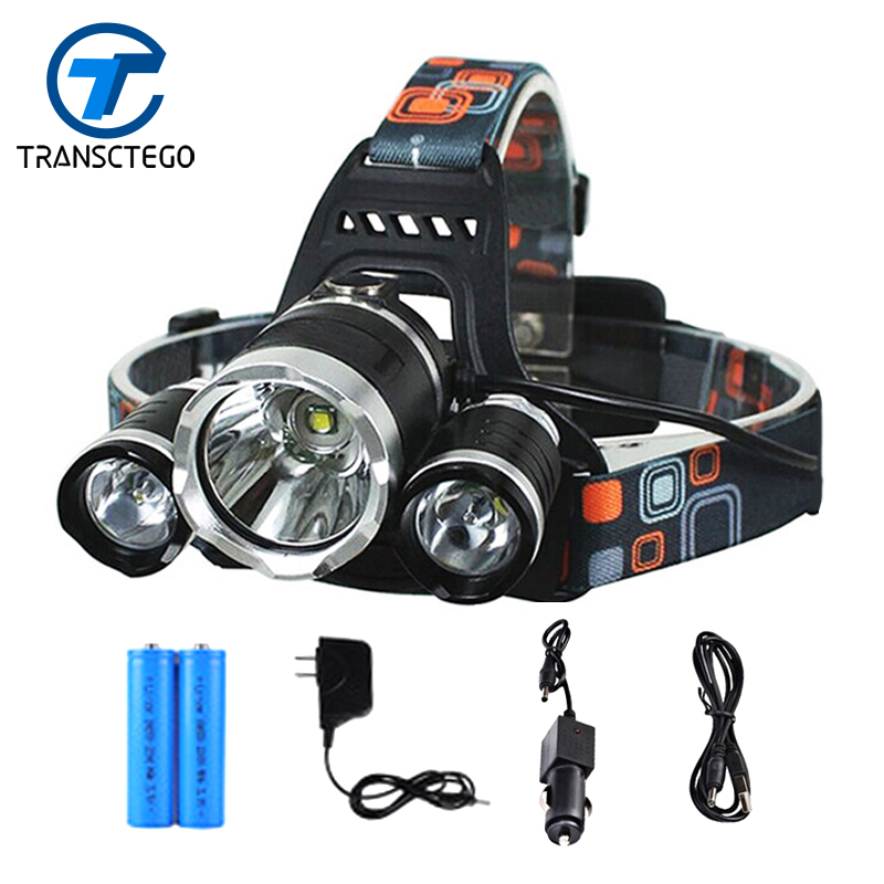 TRANSCTEGO 3 LED Headlamp Rechargeable Head Light Flashlight Waterproof Fishing Lights Portable Multi-function T6 18650 Battery