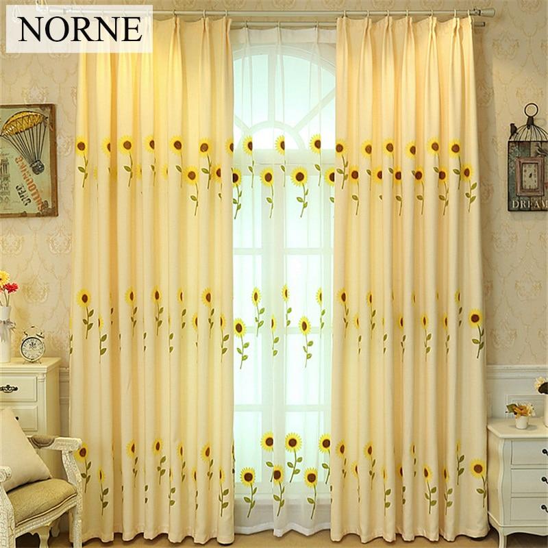NORNE Modern Embroidered Sunflower Window Treatment