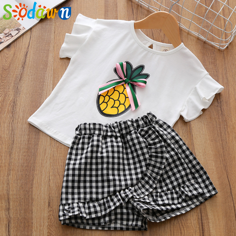 Sodawn Childrens Suit 2018 Summer New Girls Clothes Pineapple Printed Short Sleeve T-Shirt + Shorts Set Children Clothing