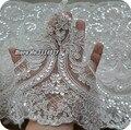 Paillette branco Rendas Decoração de Lantejoulas Guarnição Do Laço Do Vestido de Casamento Tecido Largura 23 cm 3 M/lote