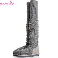 MEMUNIA 2018 gorąca sprzedaż nowych kobiet buty okrągłe toe płaskie z krowy zamszowe damskie snow boots wełna knit ogrzać nad kolana buty