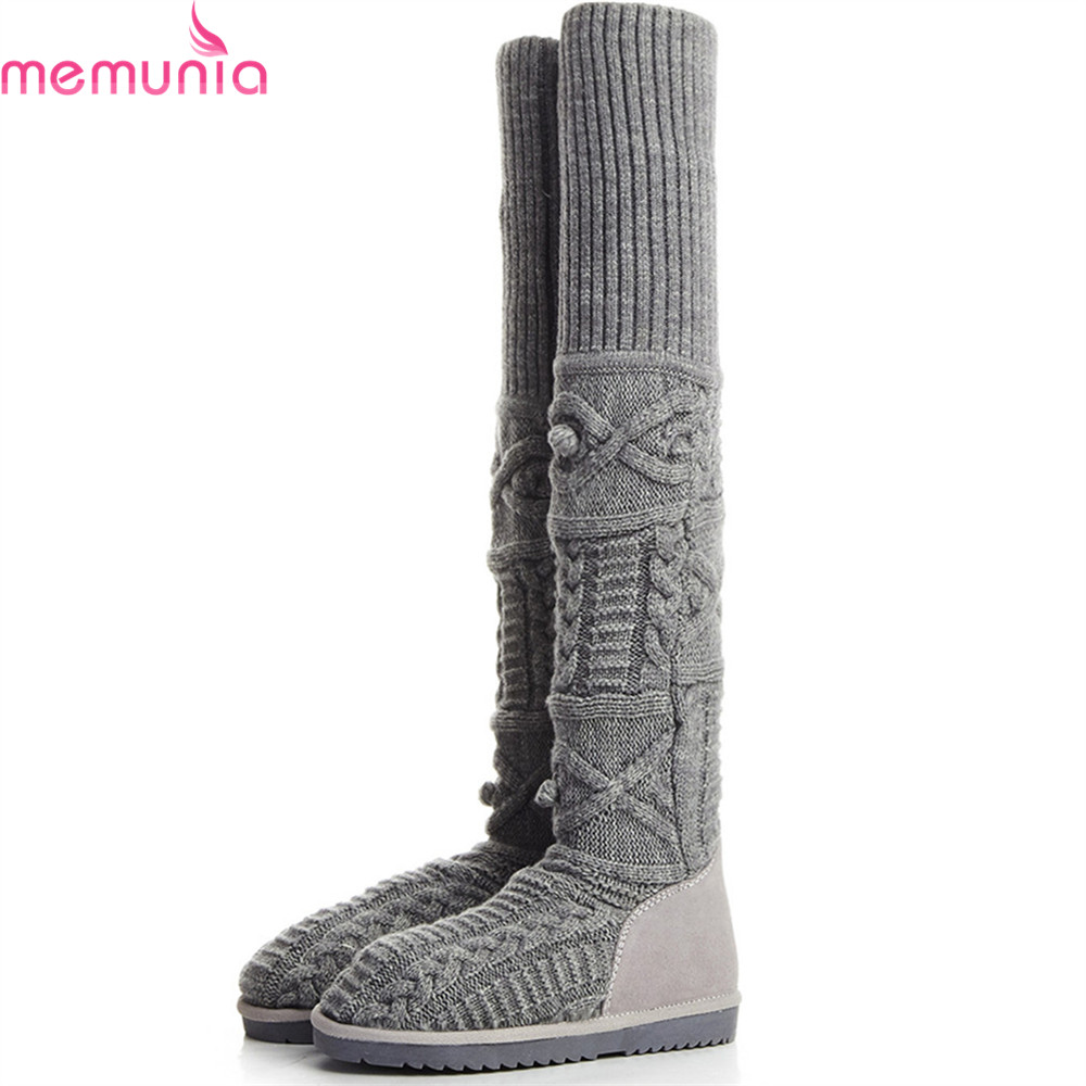 MEMUNIA 2018 Hot Sale New Women Boots Round Toe Flat With Cow Suede Ladies Snow Boots