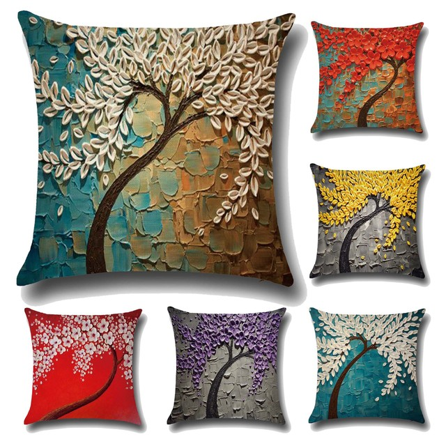 Cushion Cover 3D Oil Painting Tree Print
