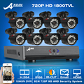 ANRAN 8CH 1080N HDMI AHD DVR CCTV System+8pcs 720P HD 1800TVL Outdoor Weatherproof Camera Home Security Video Surveillance Kit