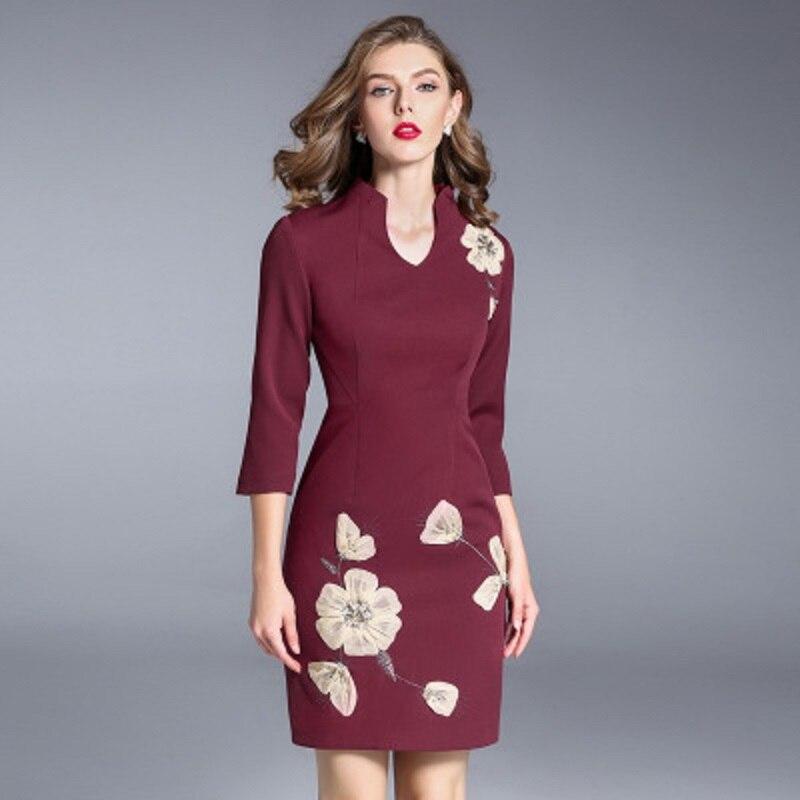 Beige Broderie Automne marine Soirée Gratuite Casual Vintage 2018 Livraison Nouveau Vêtements rouge Femmes Dame Col De V 3xl Robes Bureau Florales Bleu Robe wC5HYqx