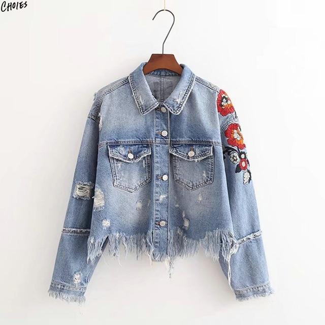 e656ea7474fd Светло-голубой укороченная джинсовая куртка Вышивка цветочный бахрома  необработанный низ осень Пуговицы фронт patchworked манжеты